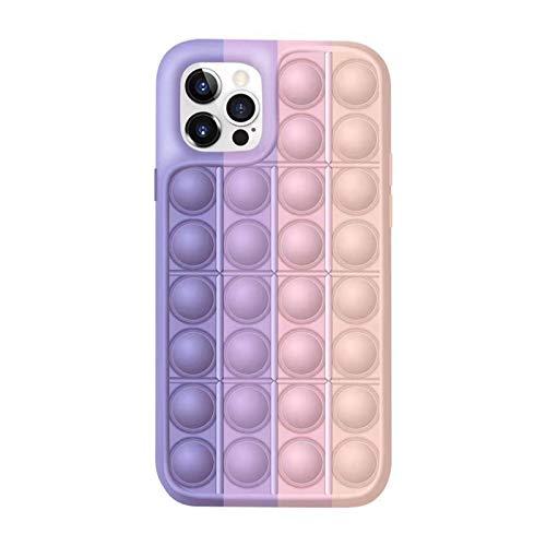 Push Pop Fidget Toy Phone Case, Silicone Push Pop Bubble Sensory Fidget Toys El Alivio del Estrés Funda Protectora de Teléfono para iPhone 7 8 Plus X XS XR 11 12 Pro MAX (for iPhone 7/8 Plus,D)