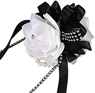 Angel Isabella Wrist Corsage-White Roses with Black Ribbon and Bling