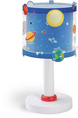 Dalber Lámpara infantil de Mesilla Planets Planetas Azul, 15 x 15 x 30 cm