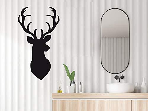 GRAZDesign Hirsch Deko Wandtattoo Wandbild - Wandaufkleber für Wohnzimmer Flur Küche Schlafzimmer Hirschkopf / 70x40cm / 070 schwarz