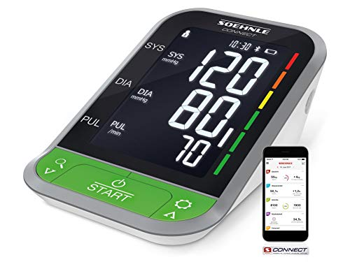 Soehnle Oberarm Blutdruckmessgerät Systo Monitor Connect 400 mit Bluetooth® und App-Anbindung, Blutdruckmesser mit Bewegungssensor, Blutdruck Messgerät