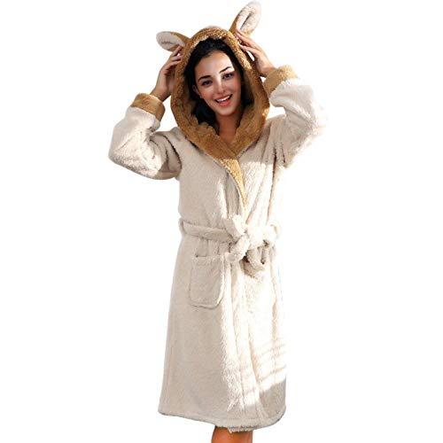 N-B Albornoces de Felpa para Mujer, Albornoces, Bonito Sombrero de Oreja de Conejo, Albornoz, Bata de Talla Grande, Vestido Suave, Bata de Dama de Honor, Albornoz cálido