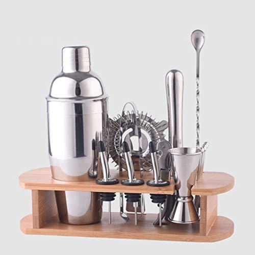 Conjunto Completo de Coctelera Profesional con Coladores 3 Densidades Jigger Cuchara Mano de Mortero kit de bartending perfecto para el hogar