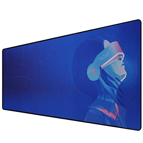 Tilted Nation Extended Gaming Mouse Pad Large - Mice and Keyboard Mat with Non-Slip Game Mousepad Base - Easy to Clean, Water Resistant Desk Pads for Mac PC Gamers, Cyberpunk Anime