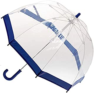 CLIFTON UMBRELLAS Navy Blue Trim Kid Friendly PVC Birdcage Umbrella, Navy Blue, One Size