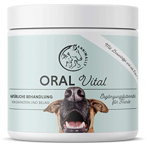 Annimally Zahnpflege Pulver für Hunde I 100g Mittel gegen Zahnstein Hund - Natürliche besonders effektive Zahnreinigung bei Gelben Zähnen, Mundgeruch und Plaque