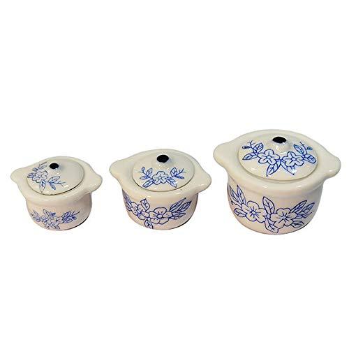 Frolada Mini Keramiktöpfe Mini China Blue Schalen Quadratische Platte, DIY Zubehör Kleines Küchenspielzeug Größe: 5 cm X 5 cm Blaues Porzellan