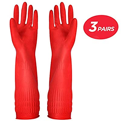 Rubber Cleaning gloves Kitchen Dishwashing glove 3-Pairs,Waterproof Reuseable.