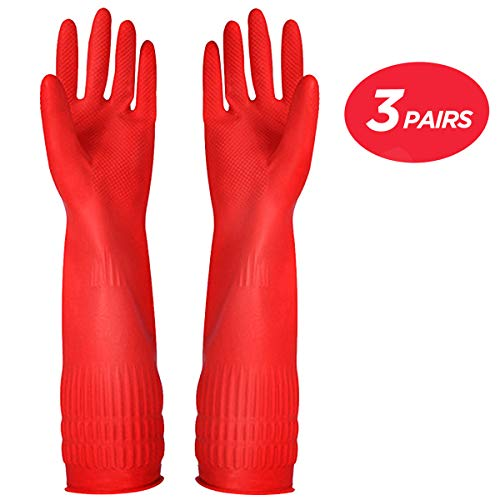 Rubber Cleaning Gloves Kitchen Dishwashing Glove 3-Pairs,Waterproof Reuseable.(Medium)