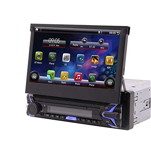 Single Din Android 10.0 Q Car Stereo 7' HD Capacitive Touchscreen Bluetooth GPS Radio InDash Navigation 1 Din Auto FM AM RDS Receiver Support SWC Mirror Link WiFi CAM-in with Wireless Back-up Camera