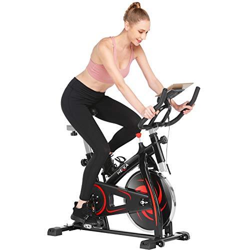 HEKA Bicicleta Estáticas para Fitness, Bicicleta Spinning de Interior, Profesional Bicletas Estáticas,Bici Spinning con Manillar y Asiento Resistencia Ajustables,Pulsómetro y Pantalla LCD, Max.150 kg
