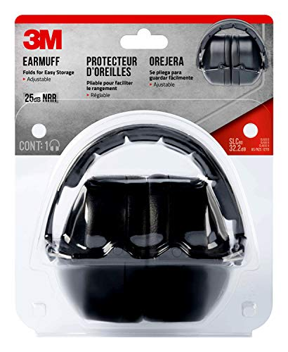 3M Folding Earmuff, Black, NRR 25dB