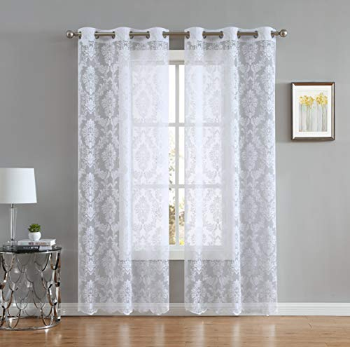 LinenZone Lisa Knitted Lace Curtain Medallion Design with Scalloped Bottom - Total Size 76 Inch Wide (38 Inch Each Panel) - 63 Inch Long - Total 12 Grommets (2 Panels 38 x 63, White)