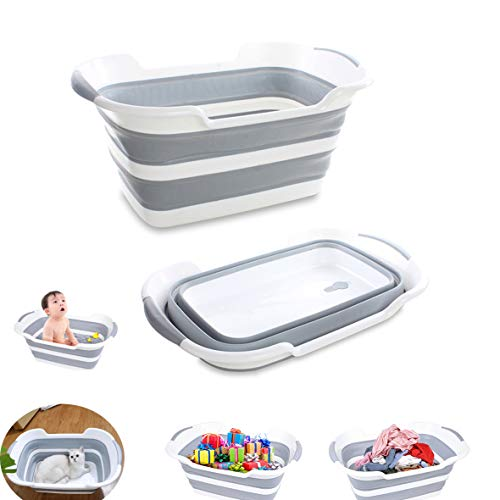 Baby tub Pet Tub Portable Washing Tub Foldable Multifunction Collapsible Plastic Laundry Basket Storage Basin Shower Basin Folding with Drainage Hole (Grey)
