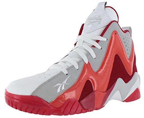 Reebok Mens Kamikaze II Mid Leather High Top Basketball Shoes Red 9.5 Medium (D)