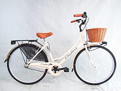 bicicletta donna bici da passeggio classica stile retro' vintage olanda 26 colore panna cesto vimini