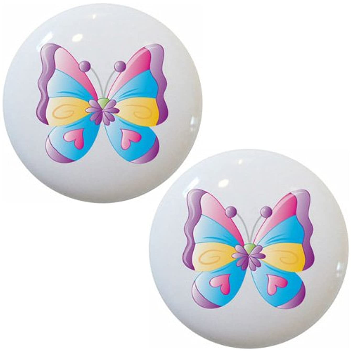 Carolina Hardware and Decor Set of 2 Kid's Butterfly Ceramic Cabinet Dresser Drawer Knobs