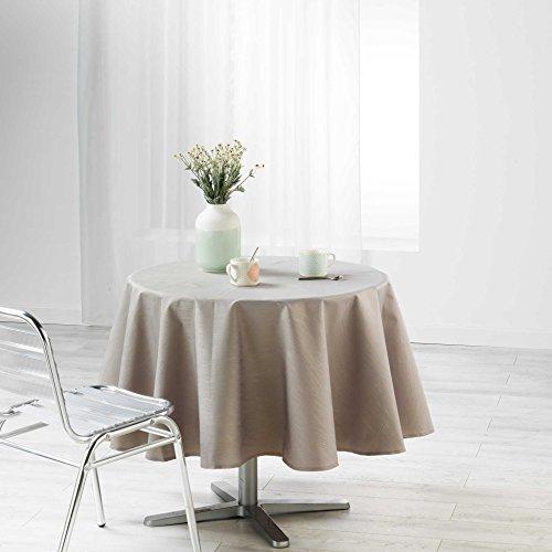 Douceur d 'Intérieur tafelkleed rond, polyester, grijs, 180 x 180 cm