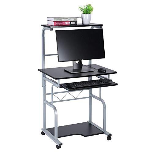 Mesa de ordenador con ruedas y bandeja para teclado, para casa, oficina, color negro, 45 x 45 x 128 cm