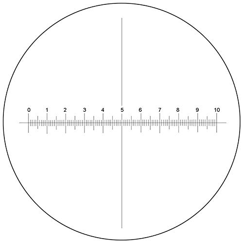 BoliOptics Microscope Eyepiece Reticle, Cross Line Micrometer Ruler, X-Axis Crosshair Scale Dia. 20mm, 10mm/100 Div. RT20103123