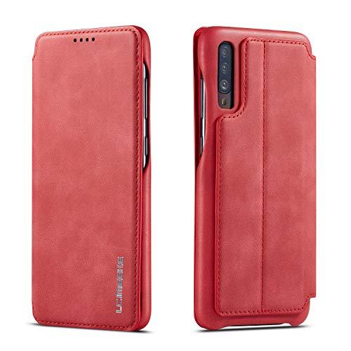 QLTYPRI Hülle für Samsung Galaxy A70, Premium PU Leder Handyhülle Ultra Dünne Ledertasche Magnetverschluss Kartenfach und Ständer Flip Schutzhülle Kompatibel mit Samsung Galaxy A70 - Rot