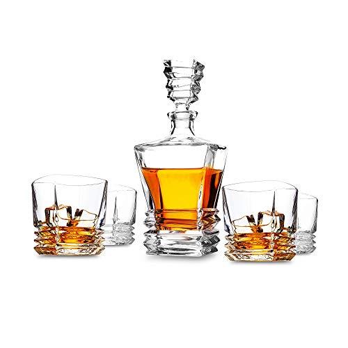 KANARS Jarra de Whisky, 5-Piezas 100% Libre de Plomo Cristalino Resistente Pacific Whisky Jarra Set para Scotch, Bourbon,1 Jarra(880ml) y 4 Vasos de Whisky(260ml), Apto para Lavavajillas