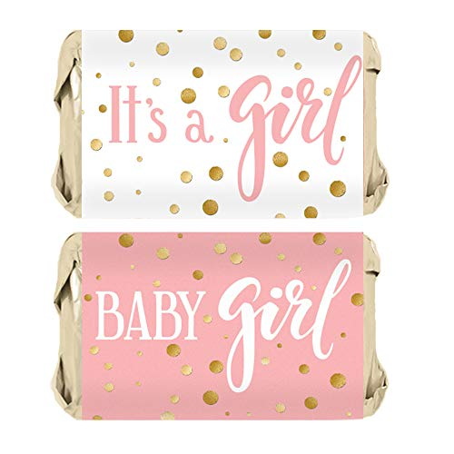 Pink and Gold It's a Girl Baby Shower Mini Candy Bar Wrappers - 45 Stickers
