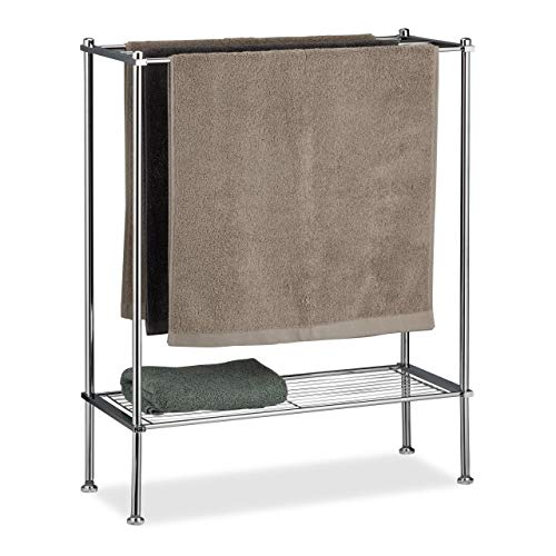 Relaxdays, Silber Handtuchhalter Chrom, 3 Handtuchstangen, Ablage, Handtuchregal, stabil & rostfrei, HBT: 79x64x26 cm