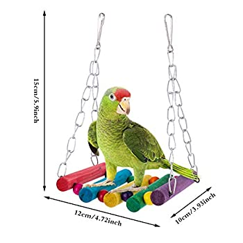 faddy-1 10 Pièces Jouets pour Oiseaux - Jouets d'escalade Couleur, Balançoires, Échelles, Perchoirs, Cloches - pour Birdie, Perroquet, Pinsons, Perruches