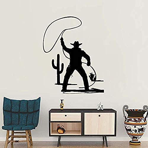 Muursticker Sticker Wilde West Cowboy Hoed Western Stijl Paard Stier PVC Muurstickers Woonkamer muurschildering Home Decoratie 56 X 70Cm