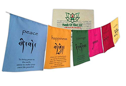 Handmade Tibetan Affirmation Prayer Flags Happiness Courage Love Tranquility Wisdom. Each string has six vibrantly colored flags and handmade for Hands Of Tibet with love.
