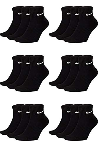 Nike 18 Paar Herren Damen Kurze Socke Knöchelhoch Weiß Schwarz Sparset SX7667 Sportsocken Größe 34 36 38 40 42 44 46 48 50, Größe:38-42, Sockenfarbe:18 Paar schwarz