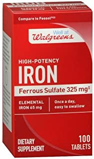 Walgreens High-Potency Iron,Ferrous Sulfate Dietary Supplement,200 ct
