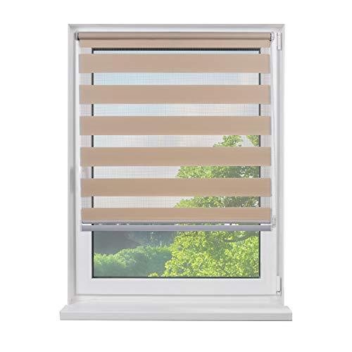 Fensterdecor Mini Doppel-Rollo, Klemmfix Duo-Rollo mit Seitenzug, Zebra-Rollo zum Klemmen in Creme, für idealen Sichtschutz, ohne Bohren, Blickdicht und lichtdurchlässig, 75 x 150 cm