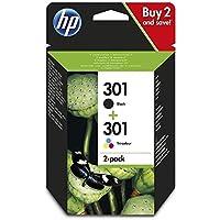 HP 301 N9J72AE Cartucho de Tinta Original, 2 unidades, negro y tricolor (cian, magenta, amarillo)