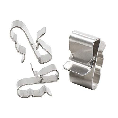 TOUHIA 100pcs 23mm Stainless Steel Trailer Frame Cable Clamp Wire Clips Solar Panel Double-Wire Clips