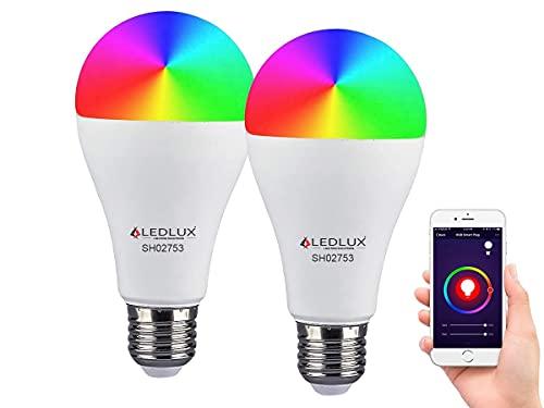 LEDLUX 2 Pezzi Lampade Led Smart Faretto WiFi RGB CCT Dimmerabile APP Compatible Con Amazon Alexa Google Home (E27 A65 15W)