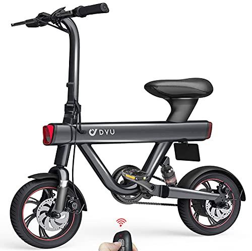 DYU V1 Bici Elettrica Pieghevole - 12' Bicicletta Pedalata Assistita per donna 240W Motor velocità Massima 25km/h 36v 10Ah Batteria TRIP 40-60km E-Bike con Chiave Wireless, Allarme Inteligente