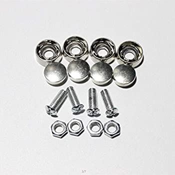 High Gloss Finish Screw Covers and 8 PCS M6X20mm Stainless Steel License Plate Screws,Rust Resistant License Plate Frames Screw Black License Plate Screw Caps Machine Plate Bolt Fastener Kits