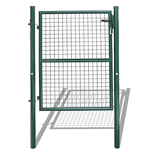 BMOT Cancello da giardino, porta da giardino, in acciaio zincato con serratura, maniglia e chiave, robusto e durevole, 125 × 100 cm, verde
