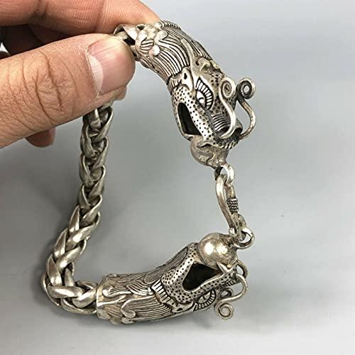 Exquisito Chino Raro Coleccionable Tíbet Plateado Trabajo a Mano dragón Amuleto Pulsera Chenhuanbakeyji