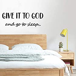 Give It to God and Go to Sleep Inspirational Saying Wall Sticker,11x 31in Funny Quote Sticker Art for Home Office Bedroom Living Room Classroom Decor (Black)