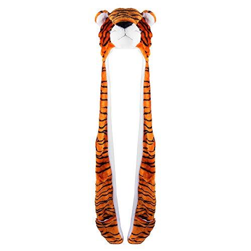 Super Z Outlet Tiger Cute Plush Animal Winter Ski Hat Beanie Aviator Style Winter (Long)