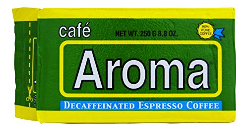 Decaf Ground Coffee - Premium Espresso from Cafe Aroma (4 Pack) Cuban Style Decaffeinated Dark Roast Ground Coffee, Vacuum Pack 250g (8.83 oz)