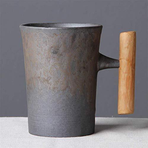 J.AKSO - Taza de café de cerámica con mango de madera, estilo japonés vintage, taza de agua para el hogar y la oficina