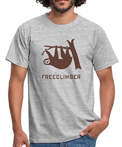 Faultier Freeclimber Sloth Freikletterer Männer T-Shirt, M, Grau meliert