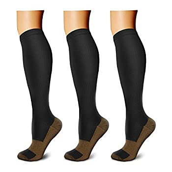 CHARMKING Copper Compression Socks  3 Pairs  15-20 mmHg is Best Athletic & Daily for Men & Women Running Flight Travel Nurses - Boost Performance Blood Circulation & Recovery  L/XL Black