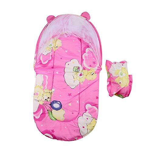 Elegantes Moskitonetz Baby Tragbare Krippe Bett Moskito Insektennetz Cradle Faltbare Kinder Zimmerbett Baldachin Baumwolle Gepolsterte Matratze Netto mit Kissen-Rosa (Color : Pink)