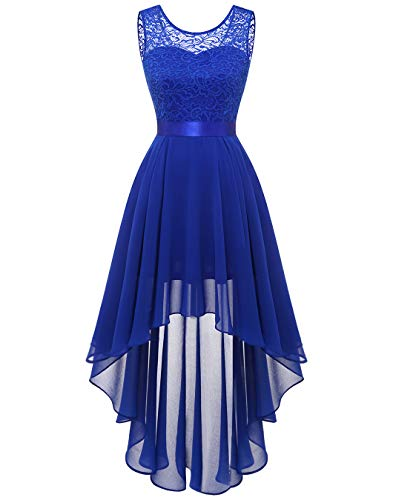BeryLove Abschlusskleid Damen Elegant Spitzenkleid Vokuhila Cocktailkleid Ärmellos Abendkleid Chiffon Brautjungfer Kleid Royalblau BLP7035 Royalblue 2XL