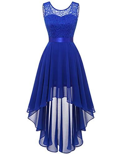 BeryLove Damen Spitzenkleid Elegant Vokuhila Cocktailkleid Abschlusskleid Ärmellos Abendkleid Chiffon Brautjungfer Kleid Royalblau BLP7035 Royalblue S
